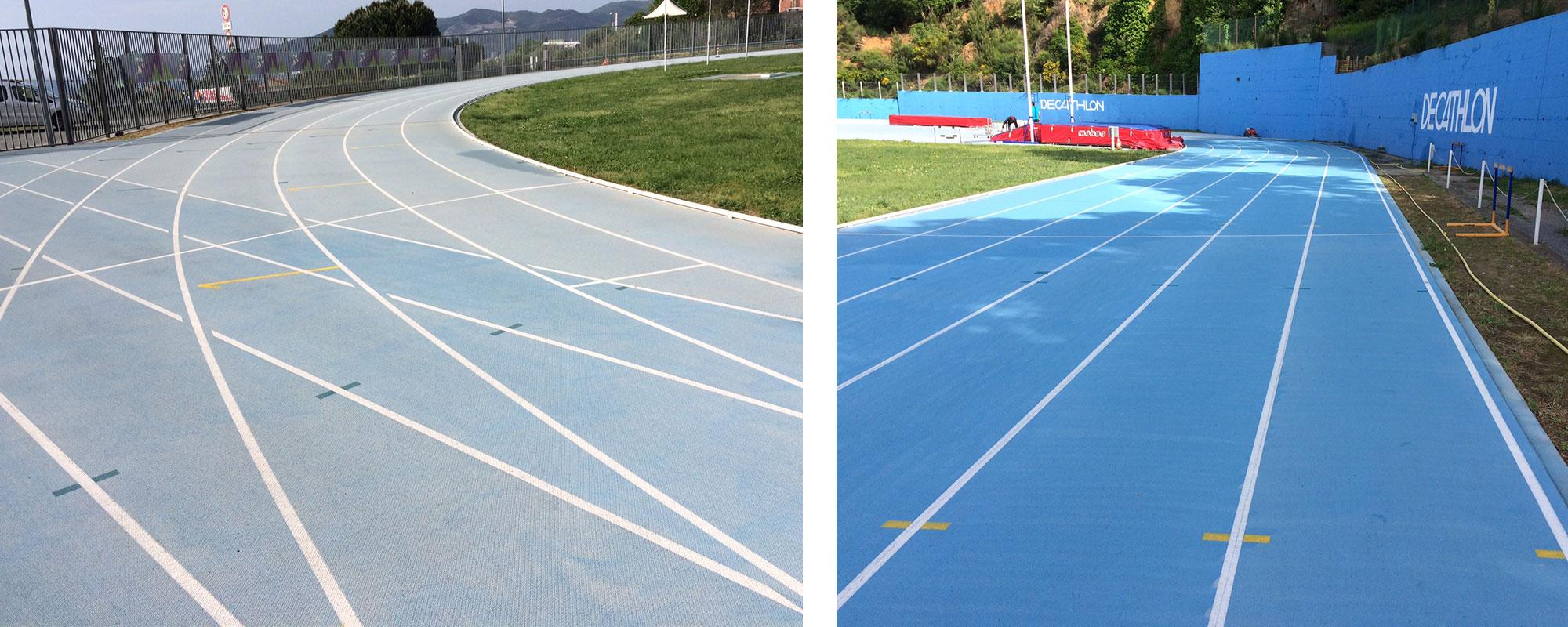 La pista di atletica di Fontanassa  prima e dopo la pulizia in occasione  del VII Meeting Città di Savona  (2018).